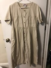 FADS Woman's Tan PL Tan Button Up Dress With functional Pockets