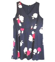 Lane Bryant Womens Fit Flare Dress Blue Floral Sz 26 Sleeveless Plus CB59V