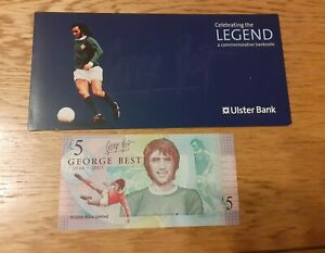 George Best - Ulster Bank collectors £5 five pound note - with original wallet