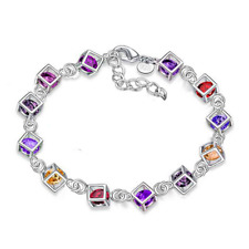 Fashion Rhinestone Bead Bangle Chain 925 Silver Plated Hollow Out Cube Bracelet