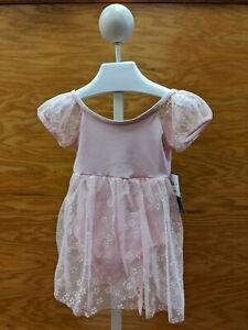 Capezio Ballet Dance Dress Pink Chiffon Puff Sleeve Empire Waist Skirt
