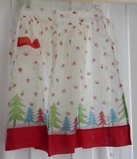 "Vintage Apron 21"" half Apron Red Green Blue w/ trees & flowers / floral + pocket"