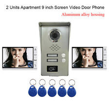 "2 Unit Apartment intercom System 9"" Video Door Phone doorbell with 5-RFID Keyfob"
