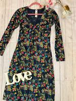 Mistral Size 10 long sleeve stretchy floral smart v neck tunic dress cotton VGC