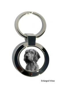 Hungarian Vizsla Wirehaired Dog Round Chrome Plated Key ring Fob Boxed Gift