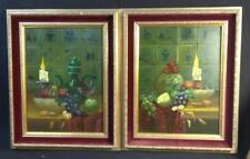 2 Old Vintage Original Oil Painting Still Life Delft Tiles Pottery Candlesticks