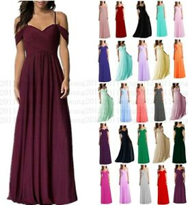 Long Formal Wedding Evening Ball Gown Party Prom Bridesmaid Dress Size 6-26