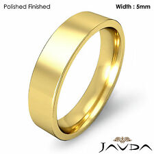 Wedding Band 5mm 18k Yellow Gold Comfort Fit Women Pipe Cut Ring 6.4g Sz 5-5.75