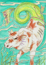 Rodeo bucking Sea Bull fish EBSQ Loberg fantasy Mini ART ocean cow Hippocampus