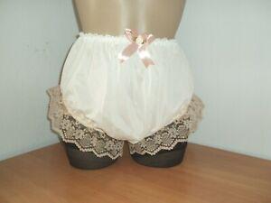 Sissy Vintage Nylon Full Briefs Panties Knickers Ivory Plus Size