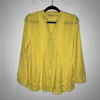 Soft Surroundings Women's Glam Gauze Shirt Yellow Size XS