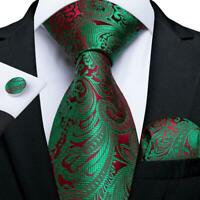 Mens Red Green Paisley Silk Tie Set Cufflinks Hanky Wedding Business Formal Gift