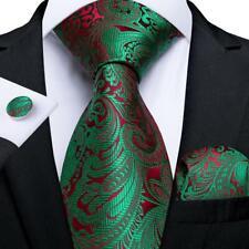 USA Green Red Paisley Silk Tie Set Mens Necktie Pocket Square Cufflinks Wedding