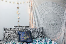 Ombre Wall Hanging Indian Mandala Tapestry Throw Queen Silver Bedspread Tapestry