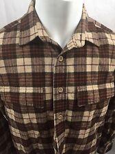 Men's Medium L.L. Bean Plaid Flannel Shirt Tan Checks Lumberjack Work Brown