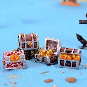 1PC Treasure Chest Box Adventure Gaming Gold Bag Sea Pirate Model Small Figu`
