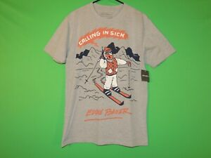 Eddie Bauer Mens Size S Small Calling In Sick Gray Mountain Skiing T Shirt NEW