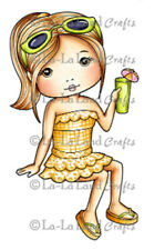 New La La Land Crafts AT THE BEACH MOLLI Cling Rubber Stamp Girl Drink Happy