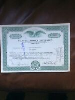 Dalto Electronics Corp. Dated 1965 100 Shares Invalid Share Certificate