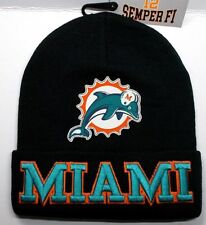 READ LISTING! Miami Dolphins Flat Logo on 3D Embroidered Beanie Knit Cap hat!