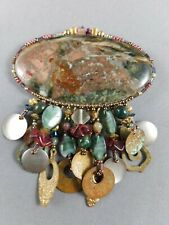 Vintage Signed CHIPITA Large Gemstone & Beads Brooch Pin