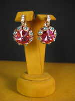 MARIANA EARRINGS SWAROVSKI CRYSTALS PINK BLUE OPAL ROSE GOLD Gift Mother's Day