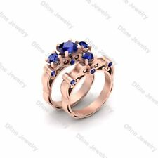 Sailor Moon Inspired Womens Engagement Ring Bridal Ring Set Blue Sapphire Pretty