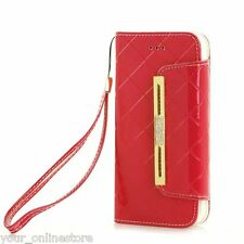 iPhone 6 iPhone 6S Luxury Diamond PU Leather Wallet Case Cover - Red