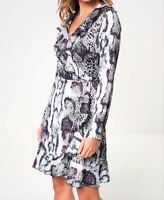 John Zack Wrap Frill Mini Dress  Snake Print in Purple