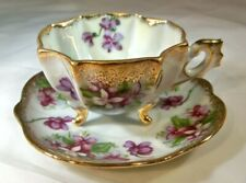 NAPCO ORIGINAL BONE CHINA JAPAN PURPLE VIOLETS GOLD TRI-FOOTED CUP & SAUCER SET!