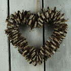 Natural Christmas Birch Bark Hanging Heart Wreath Rustic Chic Wedding Decoration