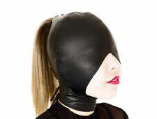 Real leather  mask hood gimp cuir mask slave tight kink halloween