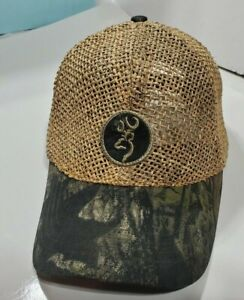 Browning Arms Trucker Hat Baseball  Embroidered Logo patch straw  camo