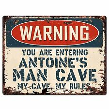 PP3649 WARNING ENTERING ANTOINE'S MAN CAVE Chic Sign Home Decor Funny Gift