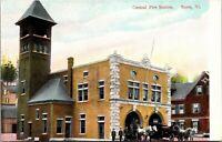 CENTRAL FIRE STATION, BARRE, VT., Postcard.- VINTAGE - WAGON HORSE