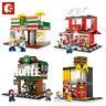 Sembo Stadt Straße Block Spielzeug Bausteine KFC 711 Apple Store Starbucks Ramen