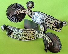 E. GARCIA ~STUNNING Vintage STERLING Silver Inlay Tom Mix Buckaroo SPURS~NO RES!