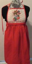 VINTAGE 80'S BIB STYLE CHRISTMAS APRON - QUILTED TEDDY BEAR/STOCKING-RED/DOTS
