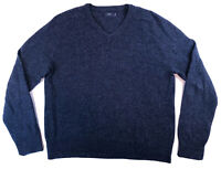 J CREW Mens V Neck Pullover Sweater Size Large Lambs Wool Heather Dark Blue EUC