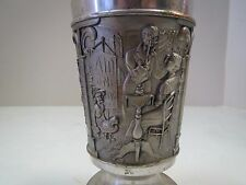•Vintage Fein Zinn Antique Pewter Goblet with 3 Scenes•