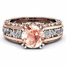 18K Rose Gold Filled White Topaz& Morganite Jewelry Wedding Engagement Ring Gift