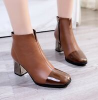 Fashion Women's Synthetic Leather Ankle Boots Square Toe Block High Heel Shoes
