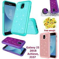 Samsung Galaxy J3 2018 SMJ337 Cute Glitter Bling Sparkle Hybrid Case + HD Screen