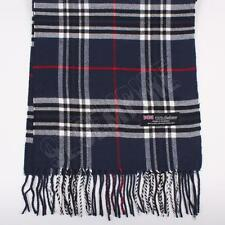 Men's 100% CASHMERE Scarf Navy Blue tartan Plaid Stripe Design Soft