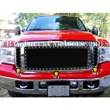 For 05~07 Ford F250 F350 SuperDuty Black Wire Mesh Rivet Stud Grille Insert