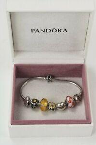 PANDORA Sterling Silver Charm Bracelet Loaded w/ 7 Charms (1 Chamilia) w/ Box