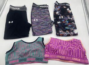 Under Armour Girls Blue Green Geometric Athletic Shorts YL NWT