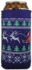 Christmas Sweater Pattern Neoprene Collapsible 16 oz  Pint Can Coolie Ugly Party