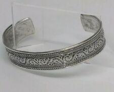 Antique Middle Eastern ornate filigree sterling silver cuff bracelet