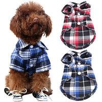 ES_ Pet Dog Puppy Plaid Shirt Coat Clothes T-Shirt Top Apparel Size XS S M L Wel
